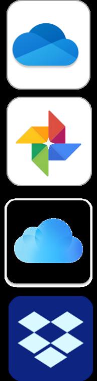 Klassiske backup services: iCloud, Google Foto, OneDrive og Dropbox
